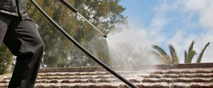 Roof Water Blasting in action